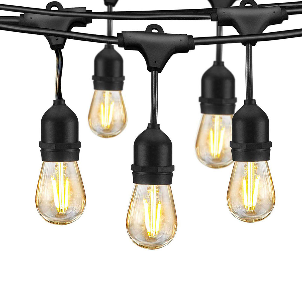 IP65 5M 10M Commercial Grade E27 Bulb LED String Light Outdoor Wedding Holiday Lighting Garland for Street Garden Backyard Patio