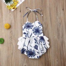 Summer Princess Ruffle Newborn Baby Bodysuits Clothes Cute Ruffle Floral Sleeveless Lace Up Jumpsuit Toddelr Infant Beachwear