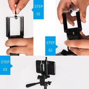Image 4 - שחור ארבעה רצפת גבוהה מקצועי אלומיניום חצובה Stand מחזיק + טלפון מחזיק + ניילון לשאת תיק עבור iPhone X 8 סמסונג