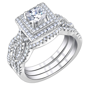 Image 2 - Newshe 3Pcs Wedding Rings For Women Trendy Jewelry 2.4 Ct Princess Cut White CZ 925 Sterling Silver Engagement Ring Set JR5256