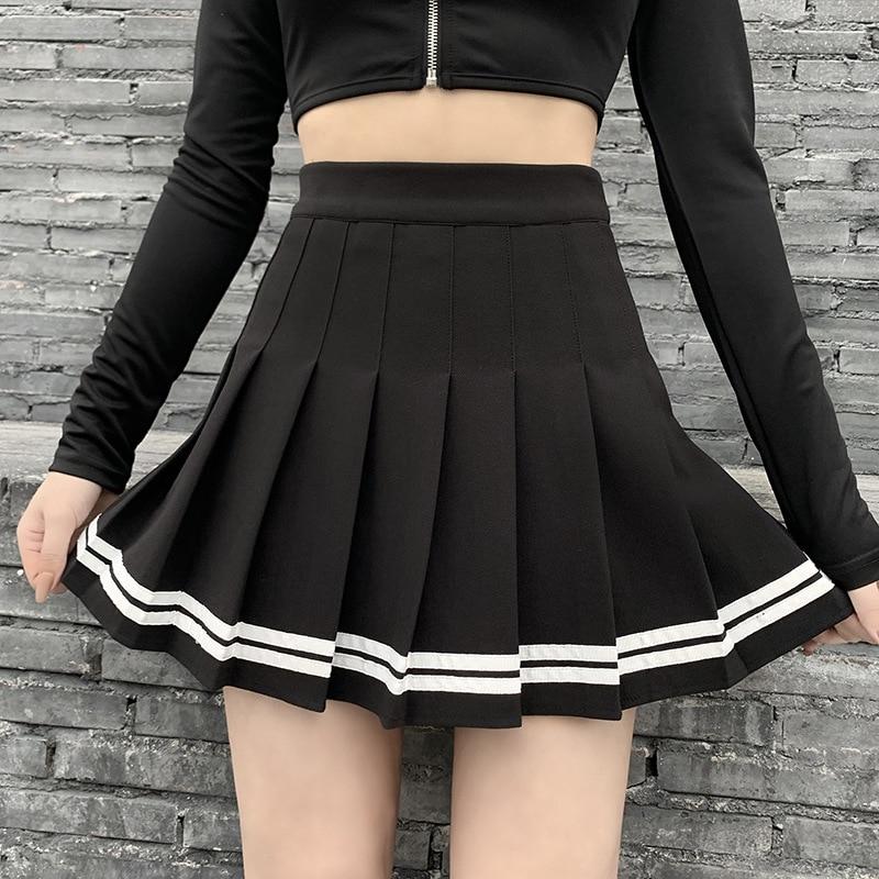 Панк-юбка Harajuku JK по низкой цене черные юбки в складку, в готическом стиле, уличная мини-юбка с высокой талией в винтажном стиле; Корейская Сти...