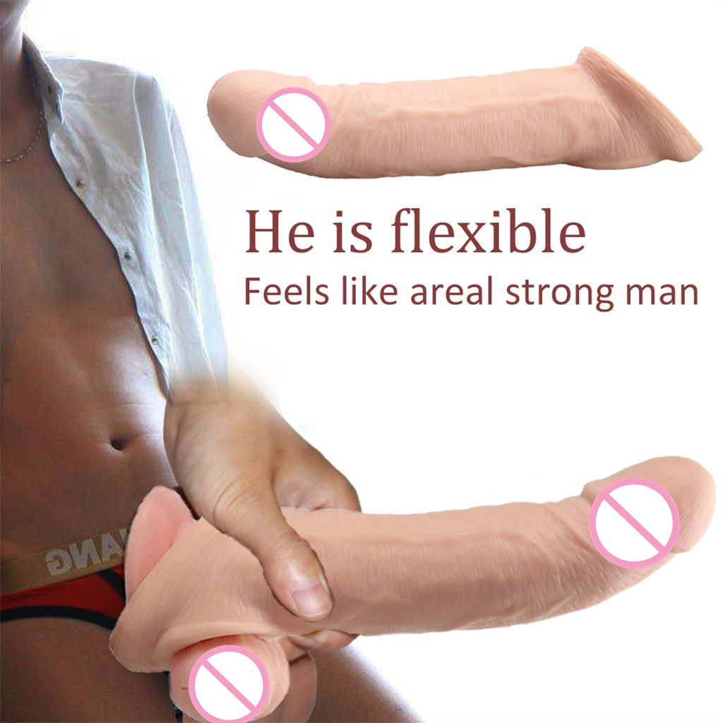 Sex Dildo vibrator realistic Silica gel sex toys for woman penis Extender Ring Collars Delay Device Enlarge Healthy taste H4