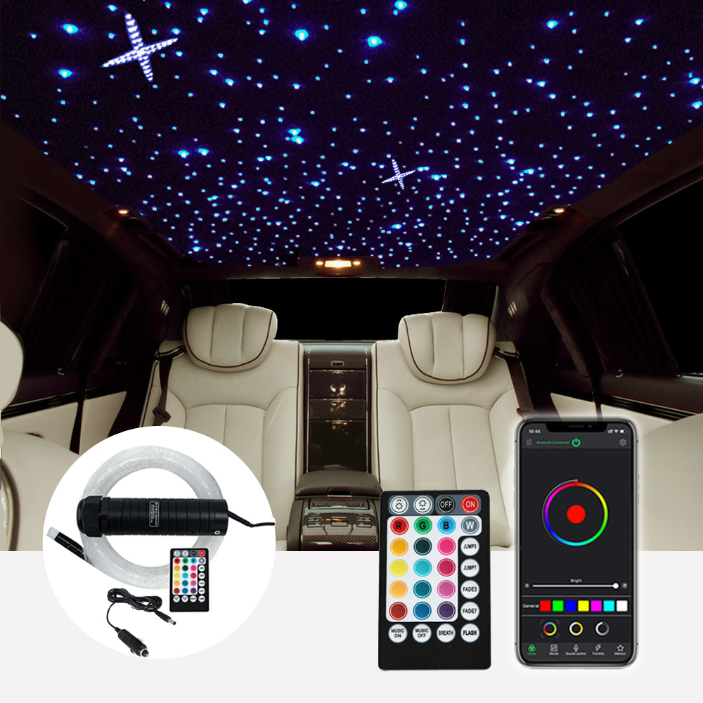 DC12V 6W RGB  Car Roof Star Lights LED Fiber Optic Star Ceiling Light Kits  2M 0.75mm 100~300pcs Optical Fiber With RF Control