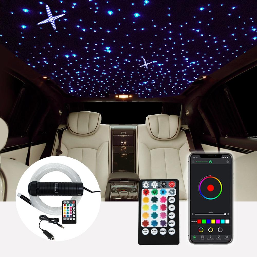 DC12V 6W rvb voiture toit étoile lumières LED fibre optique étoile plafonnier kits 2M 0.75mm 100 ~ 380 pièces Fiber optique avec contrôle RF