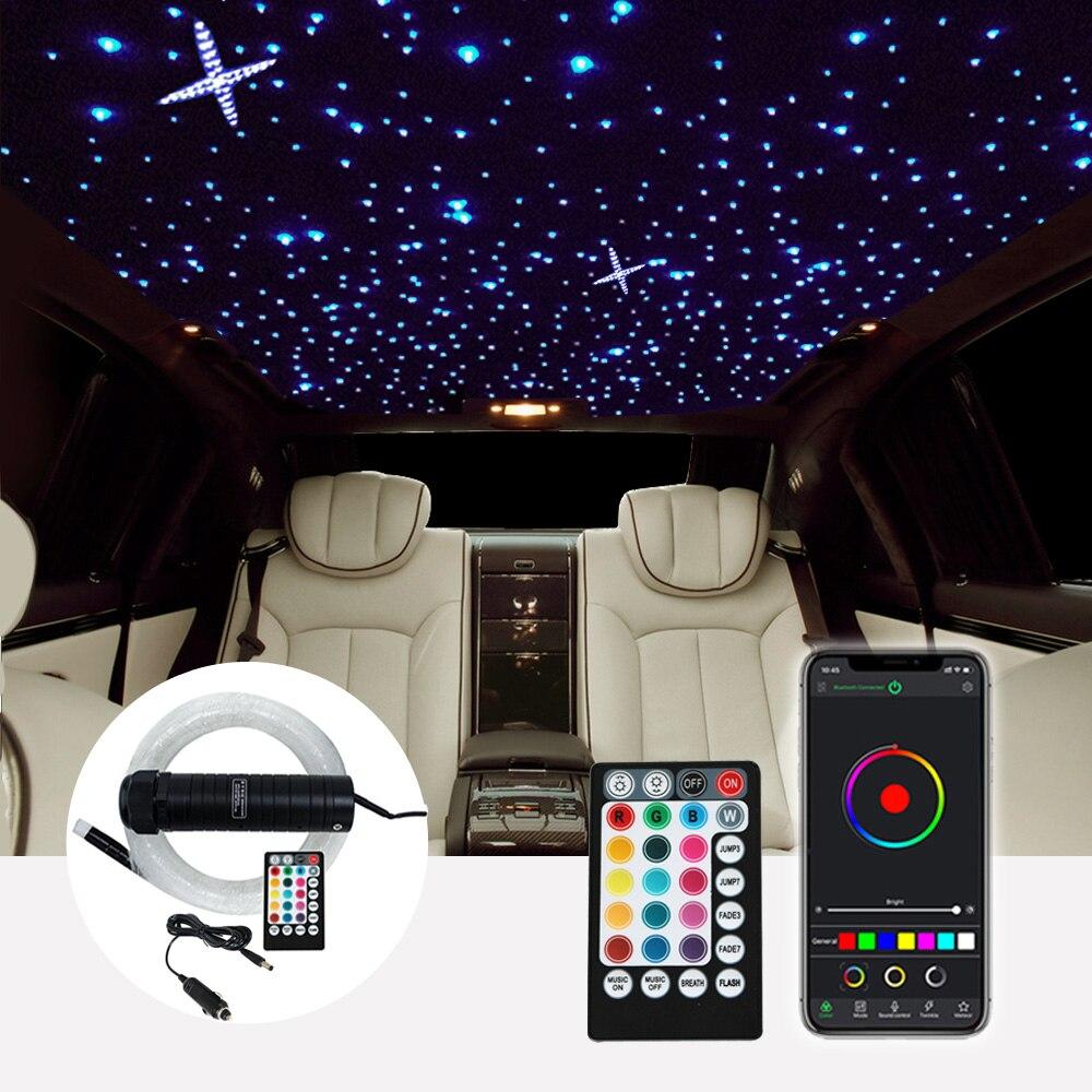 Kit de luzes para teto em estrela, dc12v, 6w, rgb, led, fibra óptica, estrela, 2m, 0.75mm, 100mm fibra óptica com controle rf 380 peças