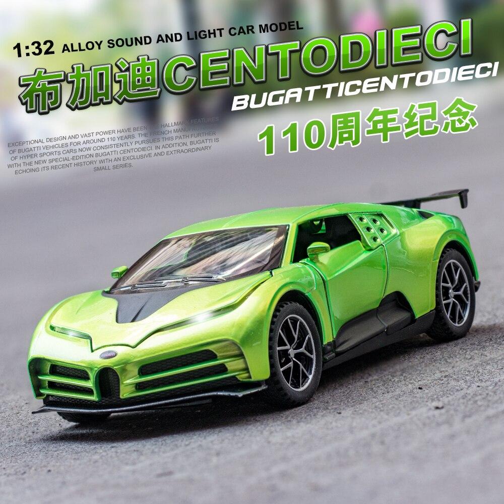 1:32 Bugatti centodireci vehículos de juguete y Diecast juguete Metal coche modelo ruedas alta simulación Pull Back colección juguetes para niños Oferta 1:32 cargador de coche Diecast Metal modelo coche sonido y luz Pull-back Vehículo de juguete para niños y niños regalo 4 colores