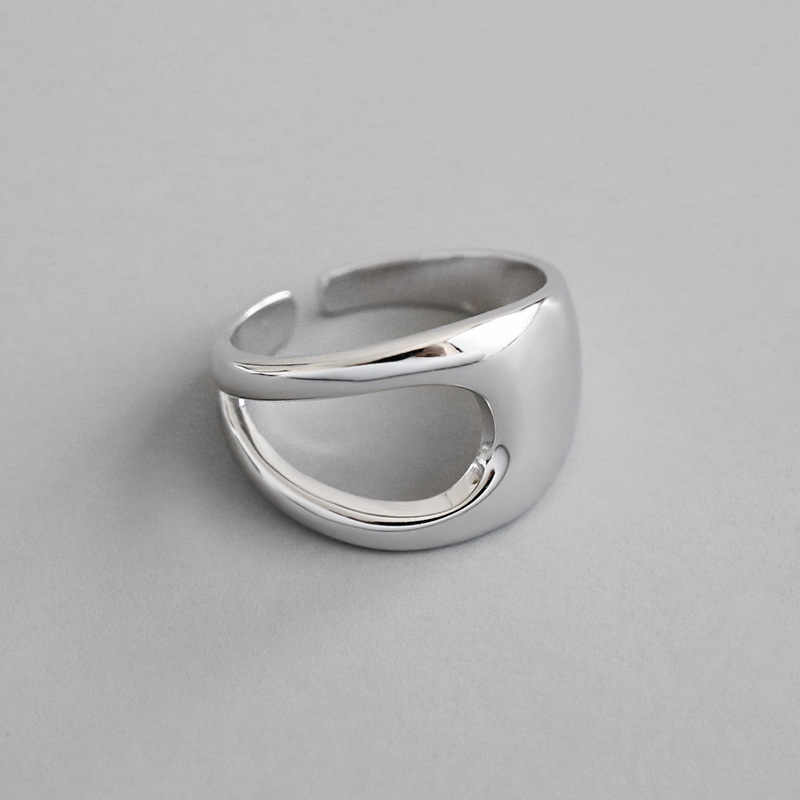 INS Frigid winds Authentic S925 Sterling Silver FINE Jewelry Smooth Hollow Geometric ring adjust TLJ704