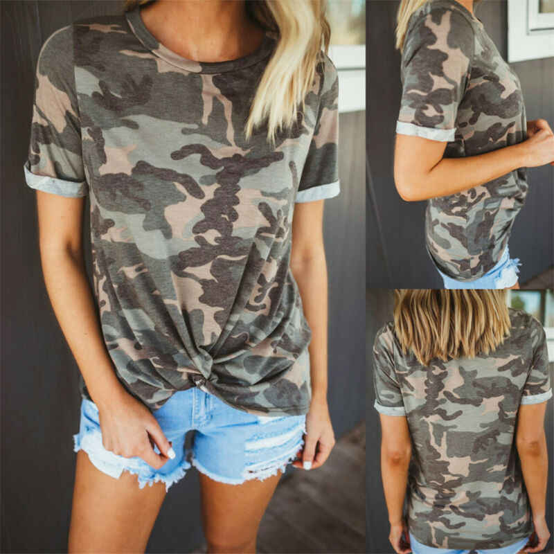 Hot Military Women S Camouflage Print Casual Fashion Ladies Summer Knot O Neck Short Sleeve Loose Baggy Tops T Shirt T Shirts Aliexpress