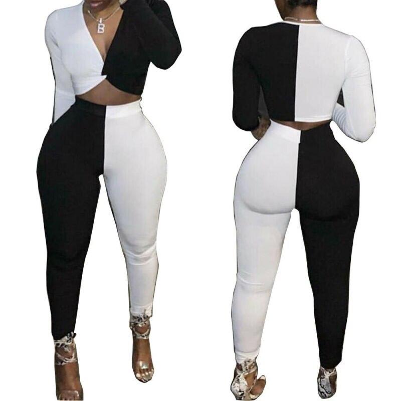 High Elastic White And Black Fitness Tracksuit Woman 2 Piece Set Skinny Long Sleeves Crop Top Slim Leggings Sportswear Suit