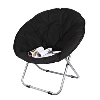 M8 Folding Large Size Round Moon Saucer Camping Chair with Steel Frame Oxford Cloth Padded Seat Portable Moon Chair 7 Colors