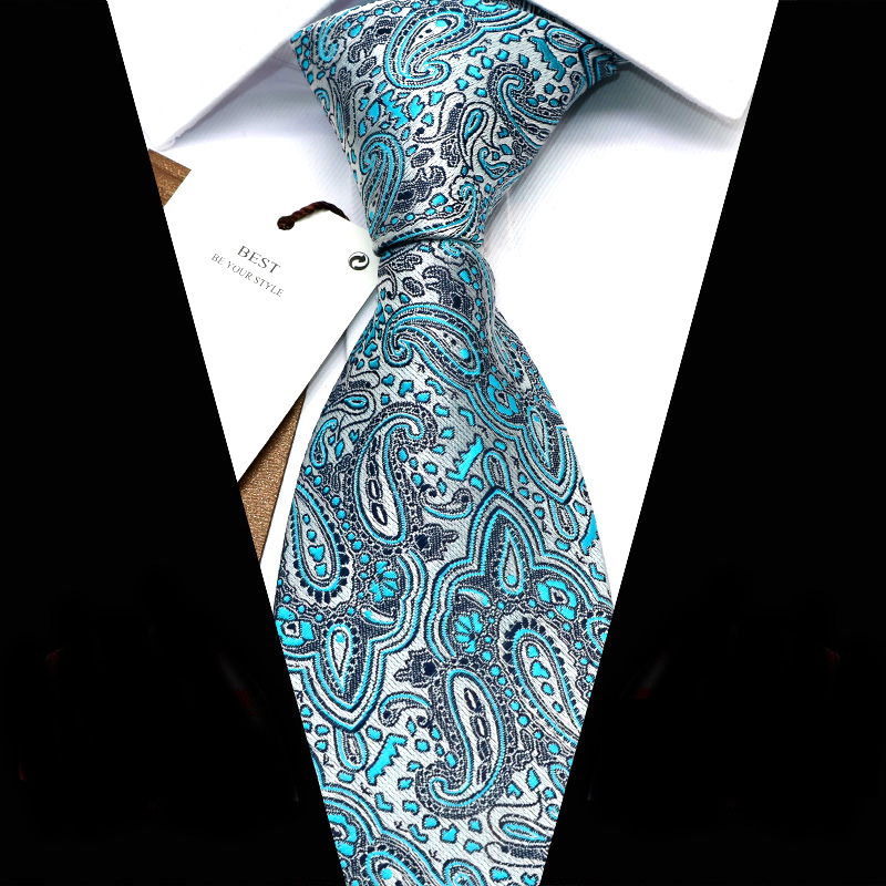 YISHLINE Men Ties 8 Cm New Multi Paisley Patterned Jacquard Woven Necktie Mens Tie 2020 Business Corbata Para Hombre Accessories