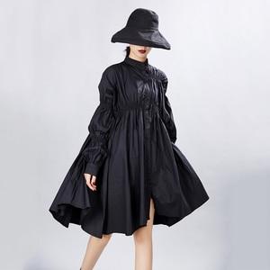 Image 5 - [Eem] kadın büyük boy boy pileli elbise yeni standı boyun uzun fener kollu gevşek Fit moda gelgit bahar sonbahar 2020 1A331