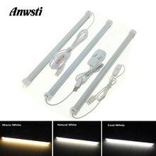 USB Kitchen Light Dimmable 5V SMD 3014 Strip Aluminum Profile LED Bar Closet Cabinet Wardrobe Bedroom Lighting