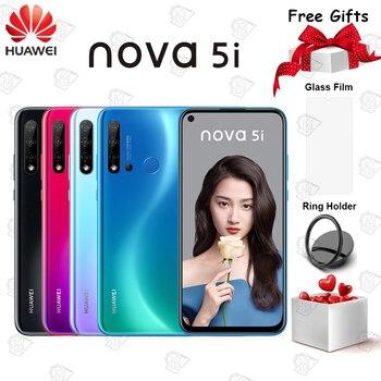 Перейти на Алиэкспресс и купить Оригинальный Huawei Nova 5i мобильный телефон 6,4 дюйма 6 ГБ 128 ГБ Kirin 710 Восьмиядерный Android 9,0 отпечаток пальца 24MP фронтальная камера смартфон