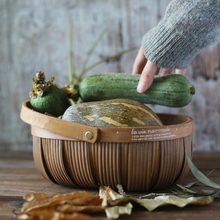木製フルーツバスケットパンバスケットハイキング収納ボックスピクニック、ケーキテーブルツール食品写真撮影