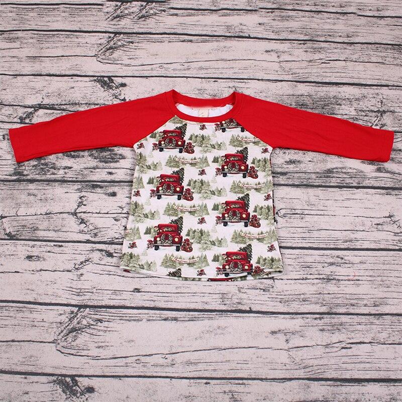 Cair Crianças Camiseta Casual Simples Carro Do Bebê Partes Superiores Das Meninas do Miúdo Da Criança Camisetas Crianças Roupas de Natal