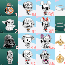 NEW 100% 925 Sterling Silver Potter Charm Dis Mikey Minie Jewelry Fit  Pan Bracelet Star Beads Making Birthday Gift For Women