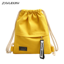 ZYWLBXMH Fashion Canvas Drawstring Bag Women Leisure Large Capacity High Quality Bags Multi-function Storage