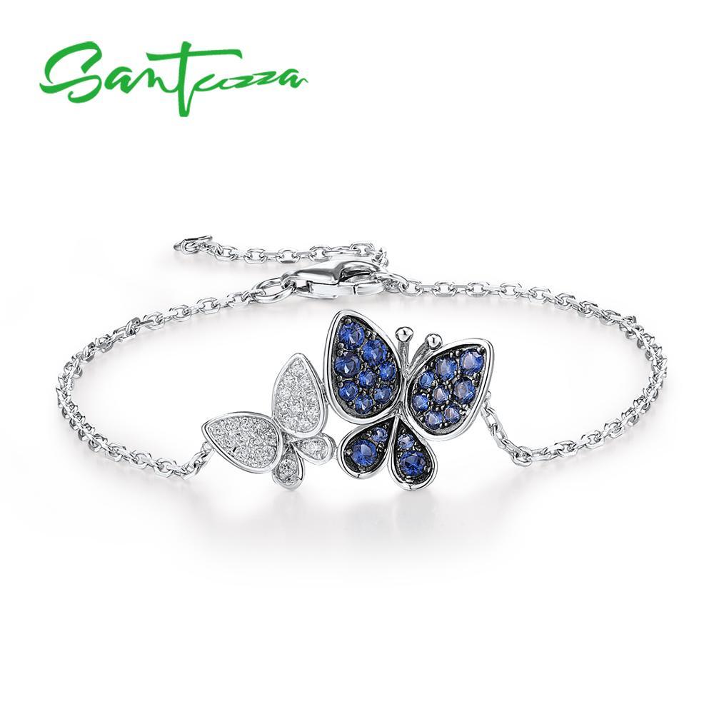 Blau-weißes Schmetterling-Paar an feinem Armkettchen   925 Armband 925 Armbänder