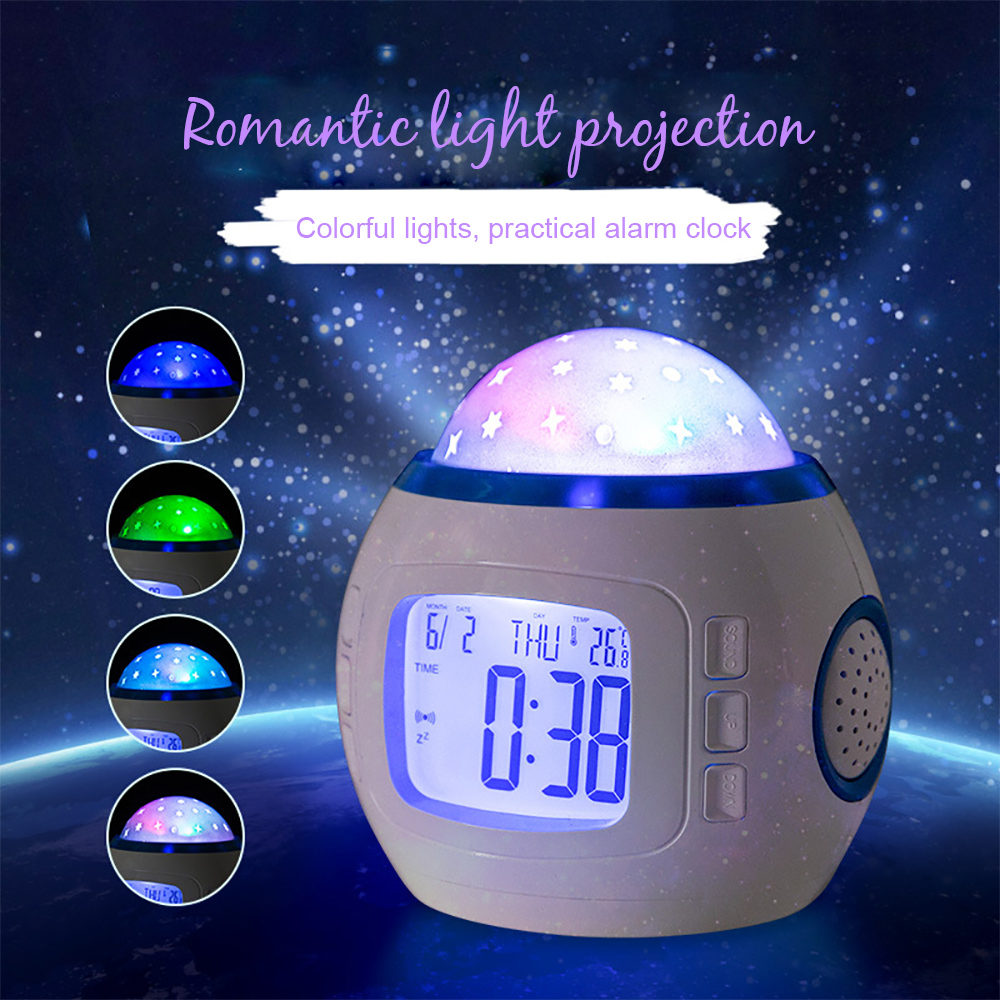 Kids Music LED Star Sky Projection Lamp Digital Alarm Clock Calendar Thermometer Night light Christmas Gift New