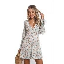Fashion Dress Women 2019 Spring New V-neck Print Long Sleeve Clothes Boho Style Sexy Beach Mini Hot Sale