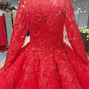 Image 4 - LS2771 red brides wedding party dresses with peplum o neck long tulle sleeve lace up back beauty cheap evening dress real price