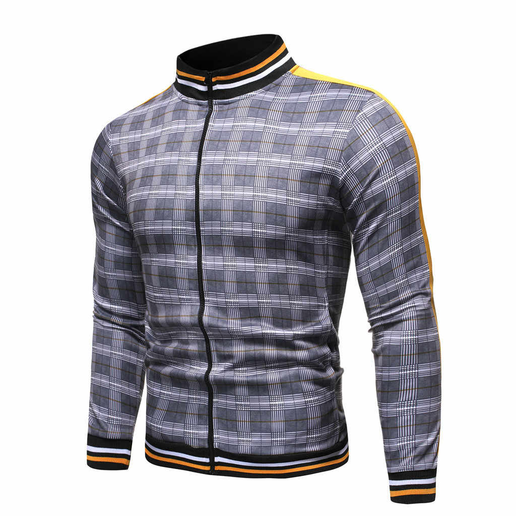 2019 novos conjuntos de treino masculino moda terno esportivo marca xadrez zíper moletom + moletom dos homens roupas 2 peças conjuntos 9.2