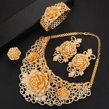 missvikki Nigerian Wedding Naija Bride Charm Rose Flower Leaf Luxury Women Cubic Zirconia Necklace Dubai 4PCS Dress Jewelry Set