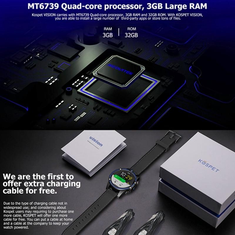 Kospet Vision 3G + 32G 8.0MP Cámara Dual frontal 4G LTE videollamada 800mAh Google Play cámara de búsqueda de voz Smart Watch teléfono - 5