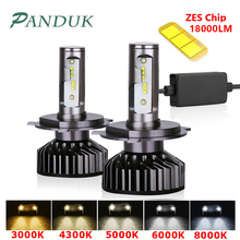 PANDUK bombilla de faro LED para coche, LED H7, H4, ZES, 18000LM, Canbus, H11, H8, H1, HB3, 9005, 9006, 6000K, 12V