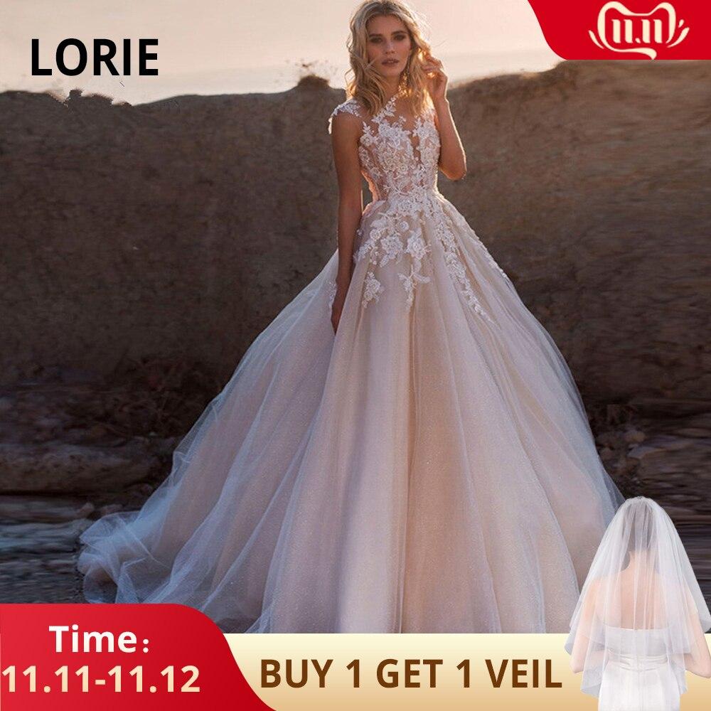 LORIE 2019 Scoop Lace Applique A Line Wedding Dresses Sleeveless Tulle Boho Bridal Gown Vestido De Noiva Long Train Trouwkleed