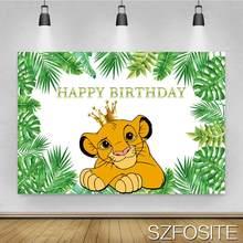 Desenho animado vestindo coroa leão folha fundo menino festa de aniversário decoração fotografia estúdio foto crianças quarto parede pano de fundo