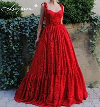 Red Lace Sweetheart Straps Evening Dress A Line Party Gown Prom Vestido De Festa Long