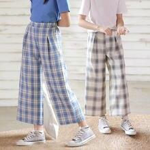 Летние свободные брюки для девочек с высокой талией 2020 Детские