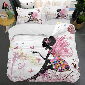 Image 1 - Miracille Pink Fairy Bedclothes 3D Printing Duvet Cover Pillowcase Set for Girl Bedroom Bedding Sets Home Textile Twin Full Size