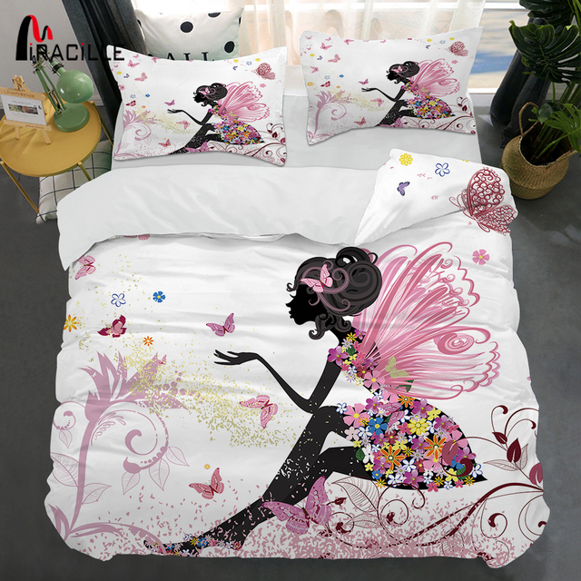 Miracille Pink Fairy Bedclothes 3D Printing Duvet Cover Pillowcase Set for Girl Bedroom Bedding Sets Home Textile Twin Full Size
