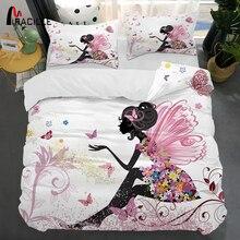 Miraille ropa de cama con estampado 3D de hada rosa, funda de edredón, juego de funda de almohada para niña, juegos de cama para dormitorio, textiles para el hogar, tamaño completo