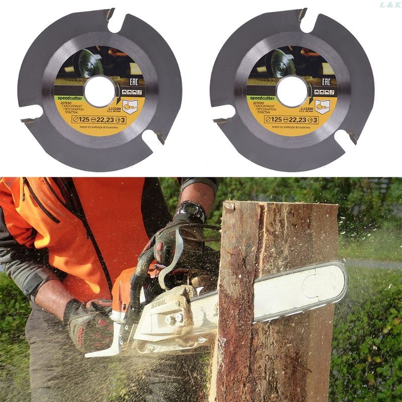 Woodworking Blade For Angle Grinder Disc For Wood Carving Cutting Shaping With 3 Teeth 7/8'' Arbor 5 Inch 125mm