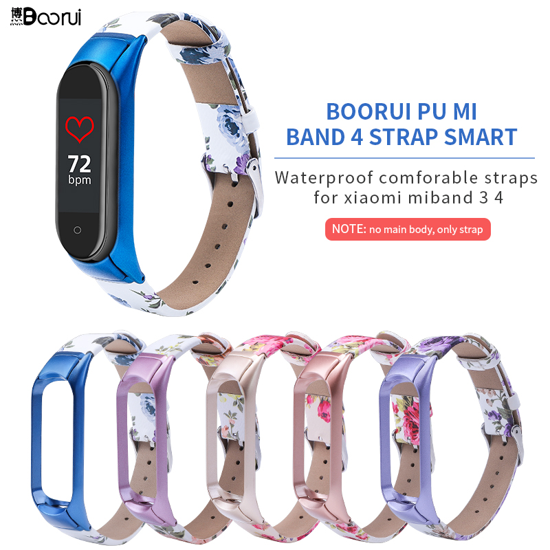 BOORUI PU Leather Mi Band 4 3  Strap Metal Colorful Flower Miband 4 Strap With Stainless Case Replacement Straps For Miband 3 4