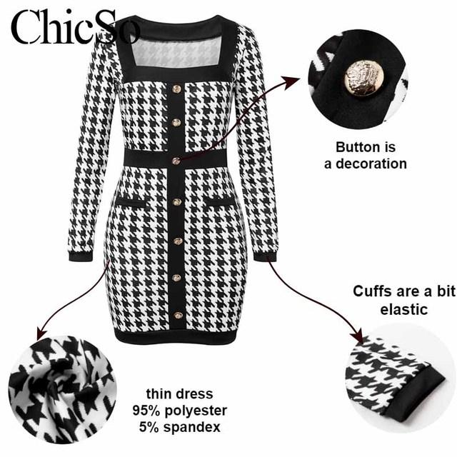 MissyChilli Black houndstooth fashion dress Women christmas plaid mini spring dress Sexy bodycon party club elegant short dress