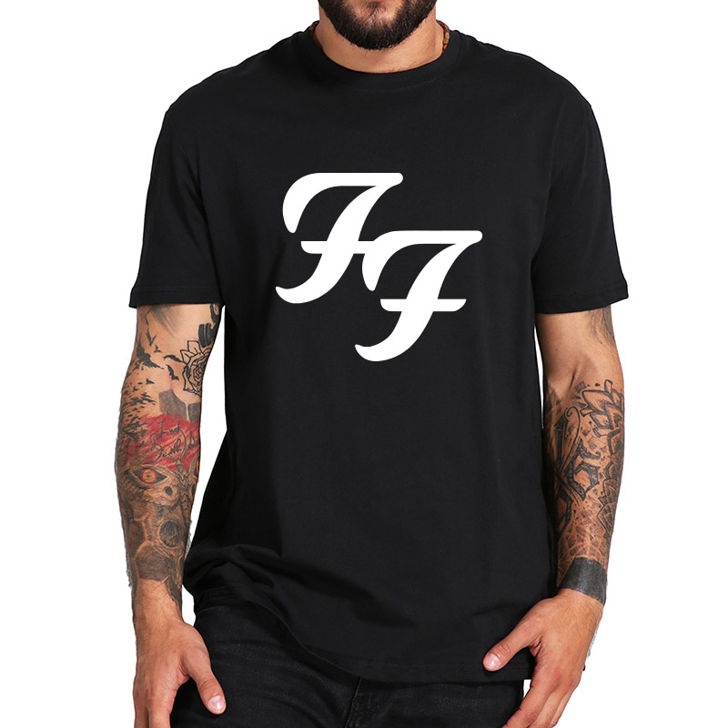 Foo Fighters Tshirt American Rock Band Logo Print Tee Shirt Breathable Homme Crew Neck EU Size High Quality Pure Cotton Tops image