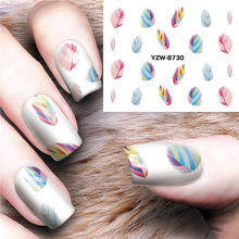 1PCS Feather  Stickers For Nails Manicure Nail Art Western style Design DIY Lips  Water Transfer Watermark Beauty Decals стоимость