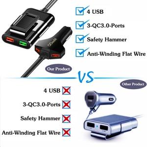 Image 5 - Cargador de coche QGEEM 4 USB para iPhone de carga rápida 3,0, cargador portátil de coche, martillo, parte frontal, trasera, QC3.0, cargador rápido de teléfono para coche
