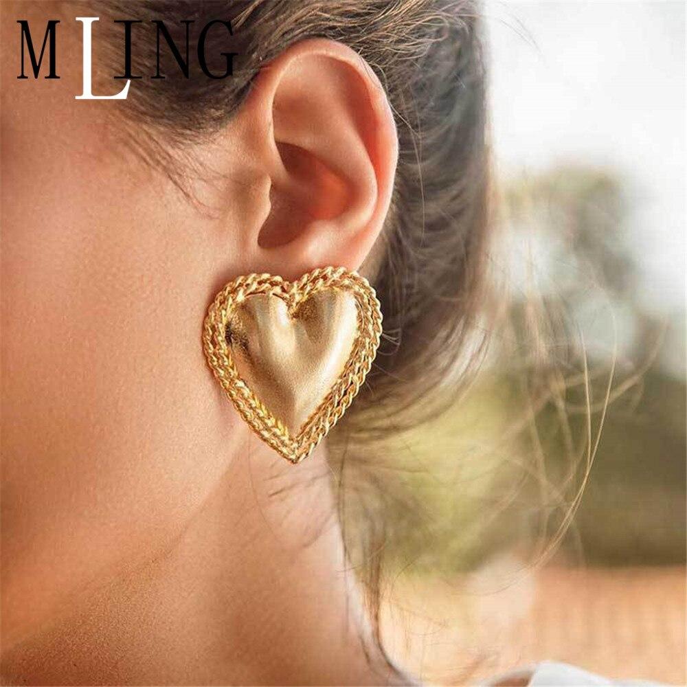 MLING Vintage Gold Silver Alloy Stud Earrings Fashion Metal Heart Stud Earrings for Women
