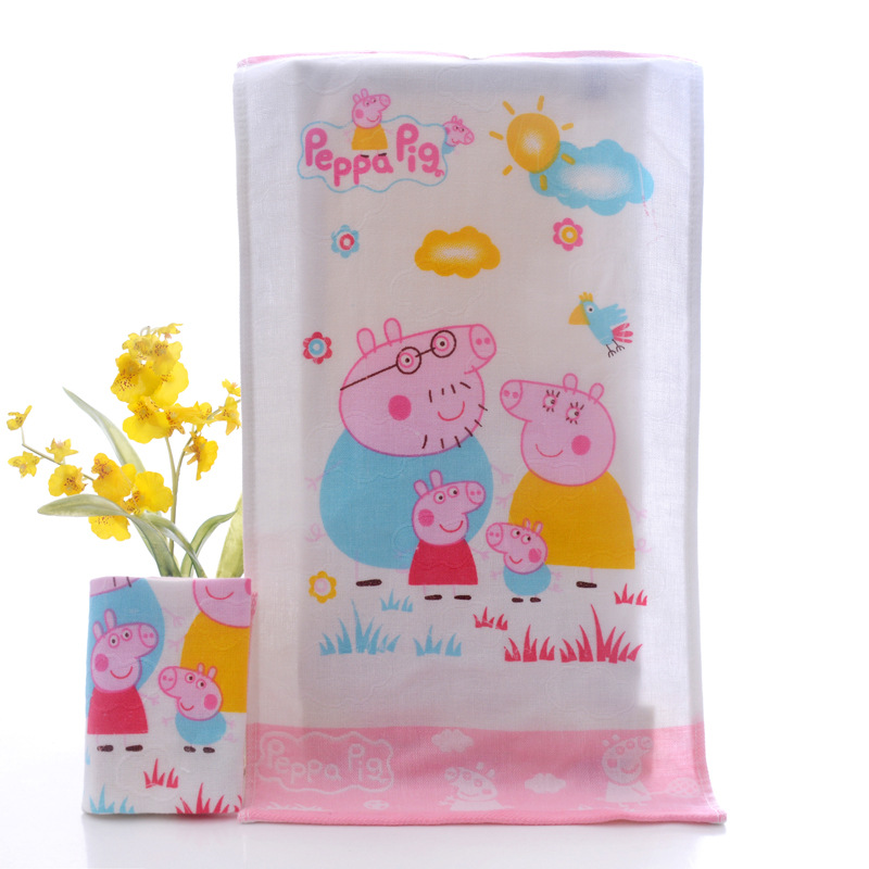 Peppa Pig Children's Bath Towels High Quality Double Gauze Cartoon George Family Print Children's Daily Necessities