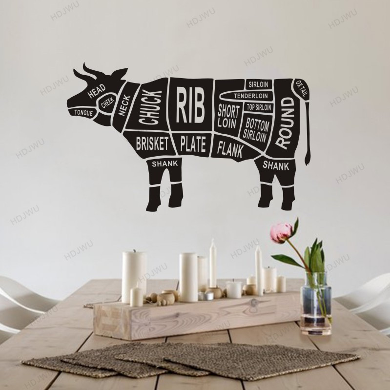 Cuts Of Cow Design Vinyl Wall Decal