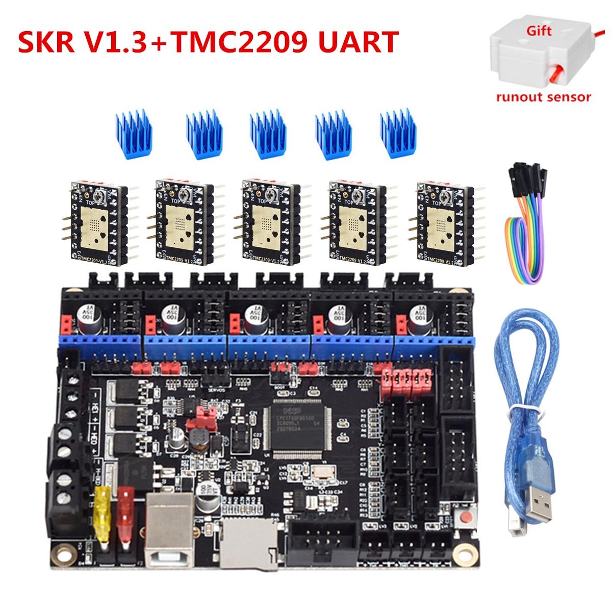 Nova placa de controle skr v1.3 32 bit cpu 3d impressora atualização placa para ender 3 cr10 suporte uart tmc2209 2208 tmc2130 spi