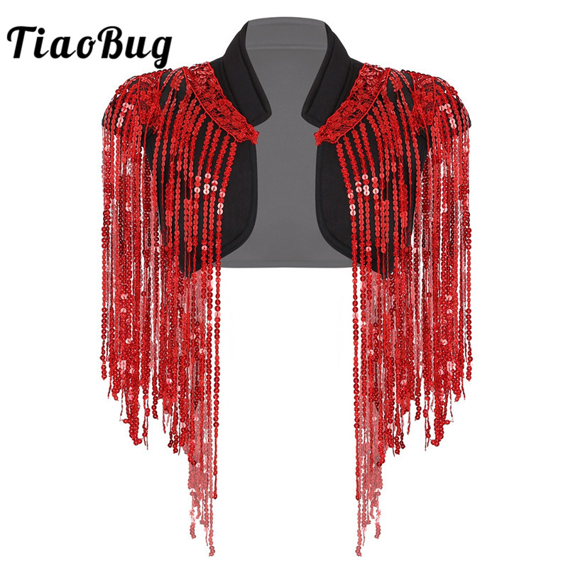 TiaoBug Women Sleeveless Sparkle Sequins Tassels Cropped Vest Waistcoat Hip-hop Jazz Dance Costume Rave Stage Performance Jacket