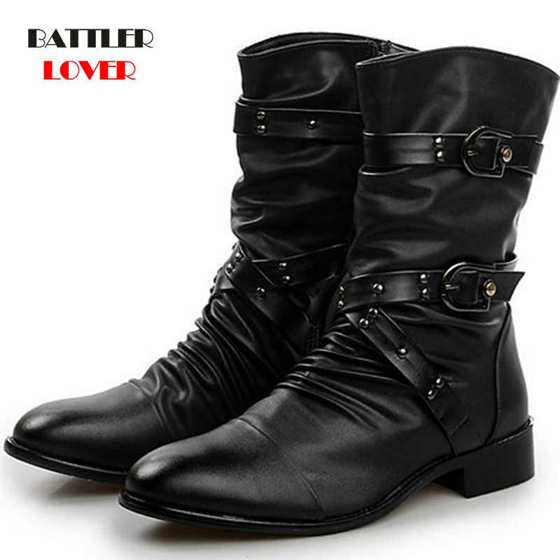 Winter Militaire Lederen Laarzen Voor Mannen Combat Bot Infantry Tactische Laarzen Punt Teen Bandage Botas Mannen Motor Punk Schoenen ayakkabi