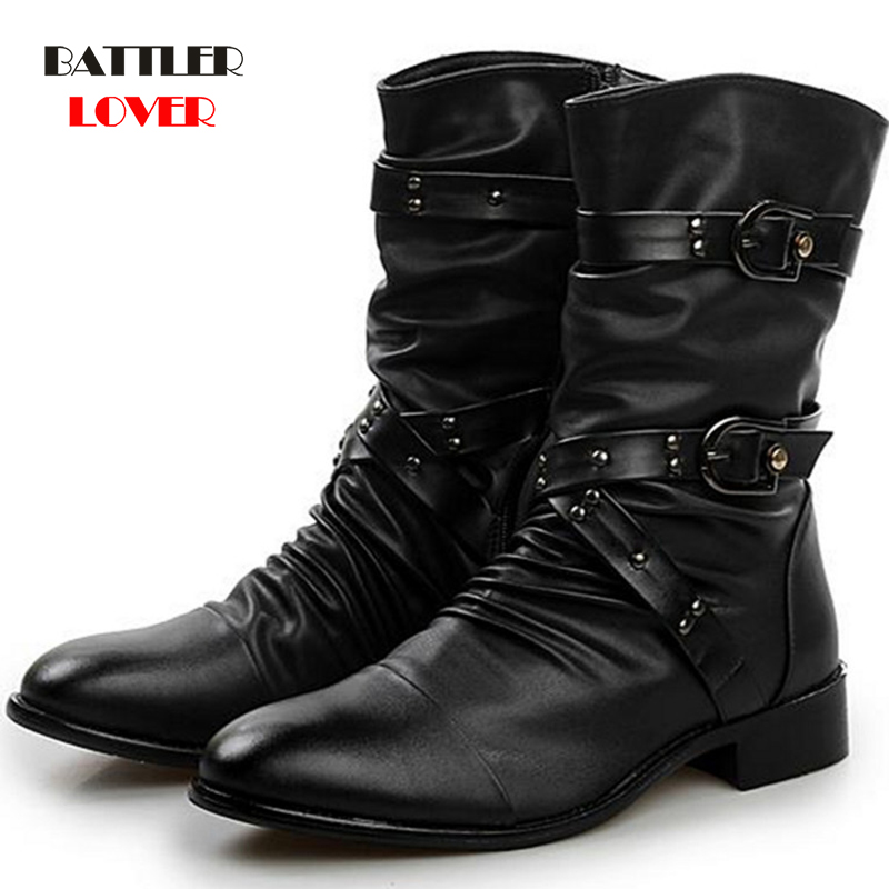 Winter Military Leather Boots For Men Combat Bot Infantry Tactical Boots Point Toe Bandage Botas Men's Motor Punk Shoes Ayakkabi